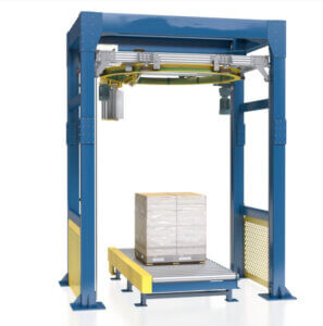 Ring type rotary arm pallet wrapper