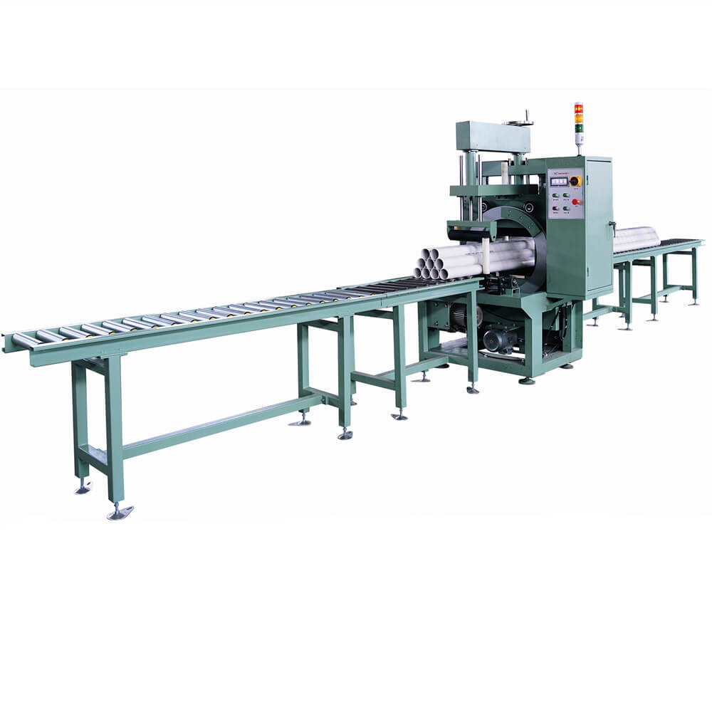 PVC pipe packing line formed by orbital wrapping machine