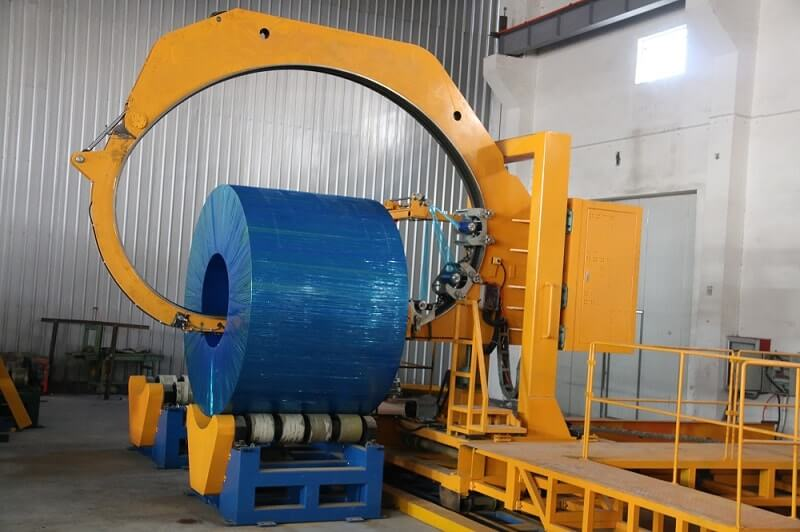 The master coil wrapping machine for packing deep reels of steel coil and rolls