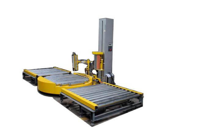 Inline pallet and skid stretch wrap machine for sale