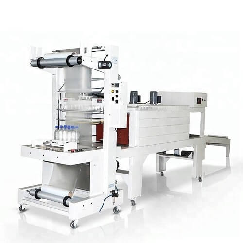 Shrink film machine for packaging bottle trays and bundles