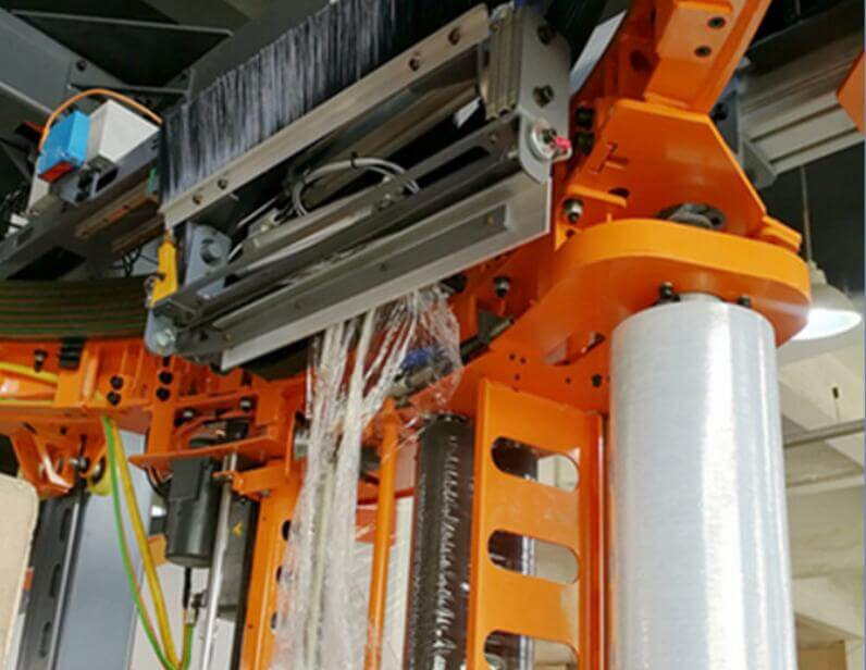 film cutter of the high speed ring type pallet wrapper