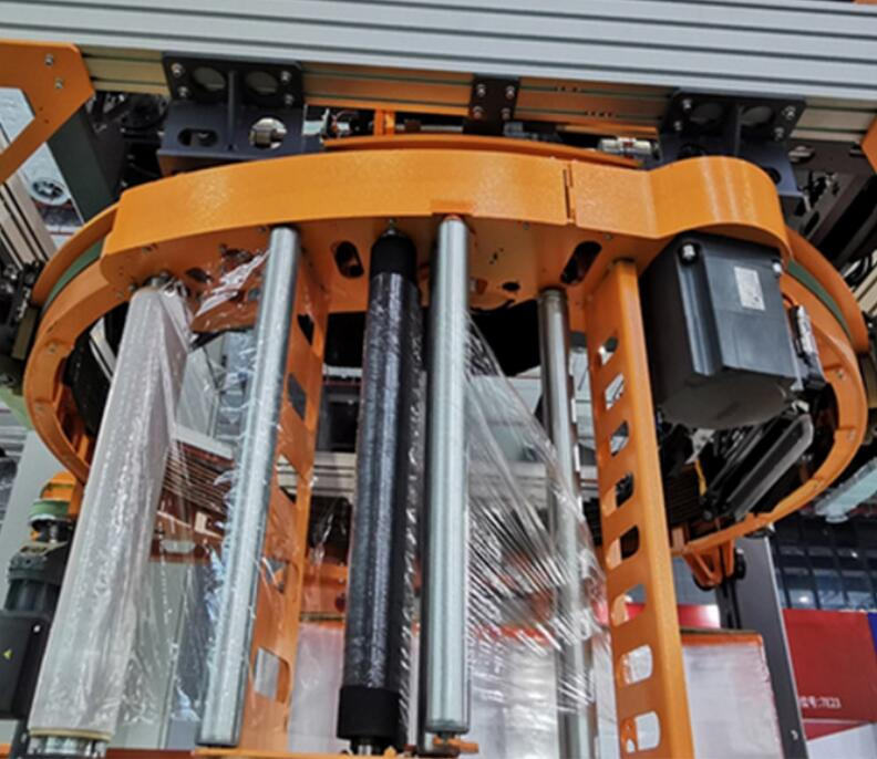 pre-stretch film carriage of the orbital ring pallet stretch wrapping machine